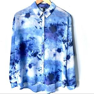 Forever21 Tie Dye Button Down Shirt Blue